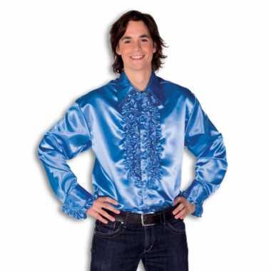 Carnaval  Overhemd blauw rouches heren kostuum