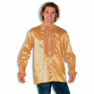 Carnaval  Overhemd goud rouches heren kostuum