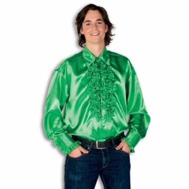 Carnaval  Overhemd groen rouches heren kostuum