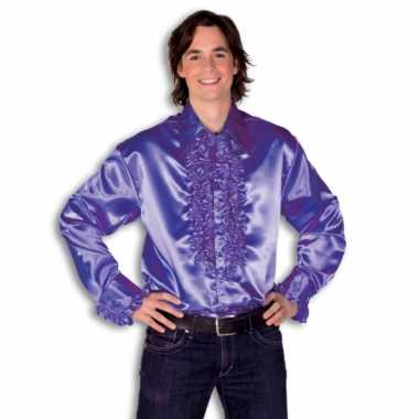 Carnaval  Overhemd paars rouches heren kostuum