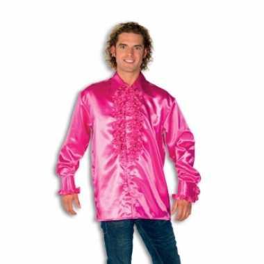 Carnaval  Overhemd roze rouches heren kostuum