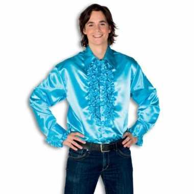 Carnaval  Overhemd turquois rouches heren kostuum