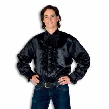 Carnaval  Overhemd zwart rouches heren kostuum