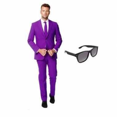 Carnaval paars heren kostuum maat (s) gratis zonnebril