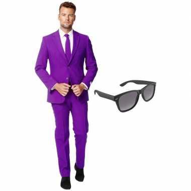 Carnaval paars heren kostuum maat (xxl) gratis zonnebril
