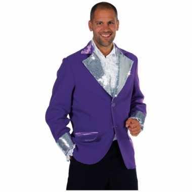 Carnaval  Paars / zilver colberts mannen kostuum
