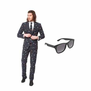 Carnaval pac man print heren kostuum maat (s) gratis zonnebril