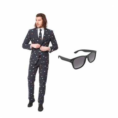 Carnaval pac man print heren kostuum maat (xxxxl) gratis zonnebril