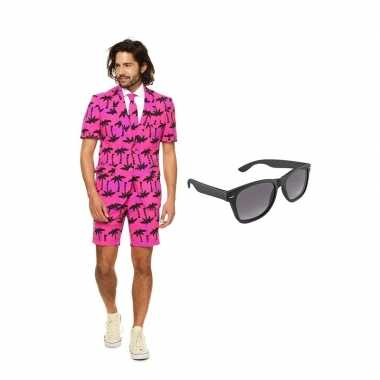 Carnaval palmbomen zomer heren kostuum maat (l) gratis zonnebril