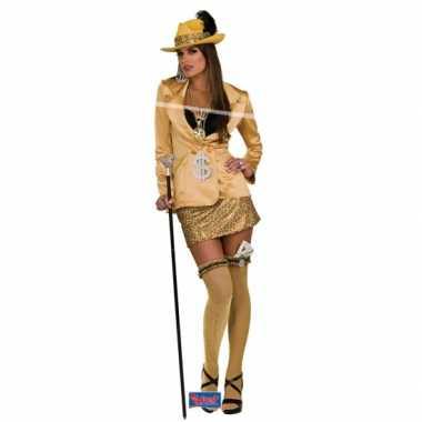 Carnaval  Pimp kostuum goud dames