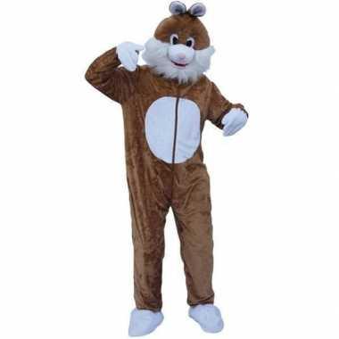 Carnaval pluche konijn kostuum bruin