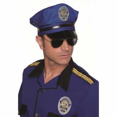 Carnaval politie pet blauw kostuum
