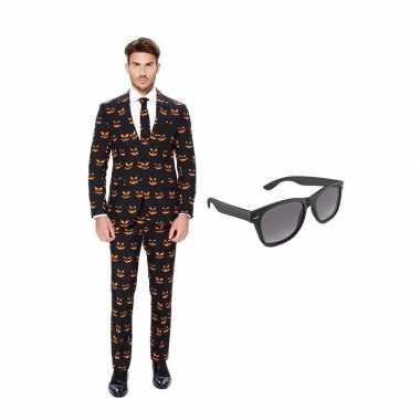 Carnaval pompoen print heren kostuum maat (l) gratis zonnebril
