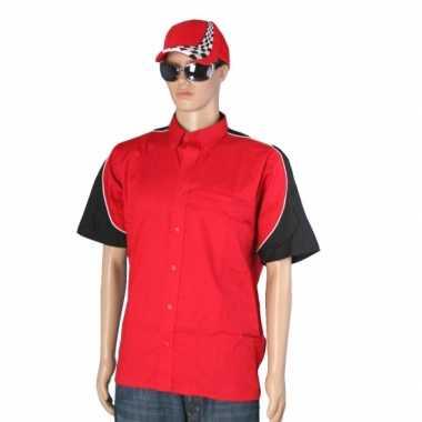 Carnaval  Race kostuum rood race cap maat L