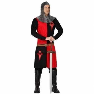 Carnaval ridder verkleed kostuum zwart/rood heren