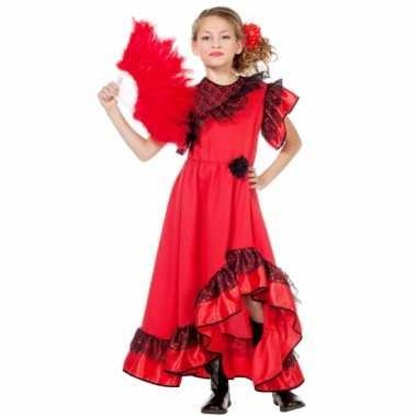 Carnaval  Rode lange kinderjurk witte stippen kostuum
