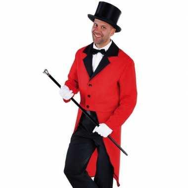 Carnaval rode slipjas zwarte hoge hoed maat xl kostuum