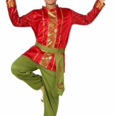 Carnaval  Rood groene Oosterse kleding kostuum
