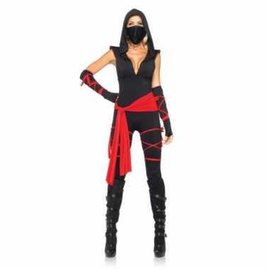 Carnaval  Rood zwart Ninja kostuum dames