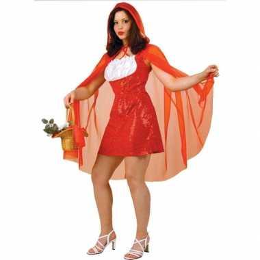 Carnaval  Roodkapje kostuum jurk dames rode pailletten kostuum
