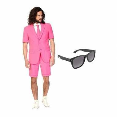 Carnaval roze heren zomer kostuum maat (s) gratis zonnebril