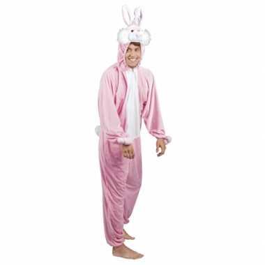 Carnaval roze konijn / haas kostuum heren