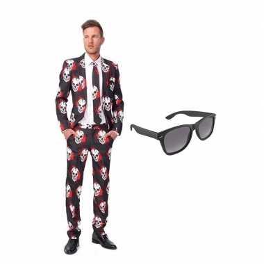 Carnaval schedel print heren kostuum maat (m) gratis zonnebril