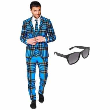 Carnaval schotse print heren kostuum maat (xxl) gratis zonnebril