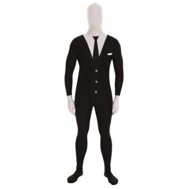 Carnaval  Second skin kostuum businessman zwart