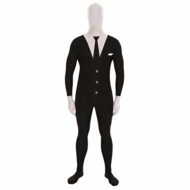 Carnaval  Second skin kostuum businessman zwart