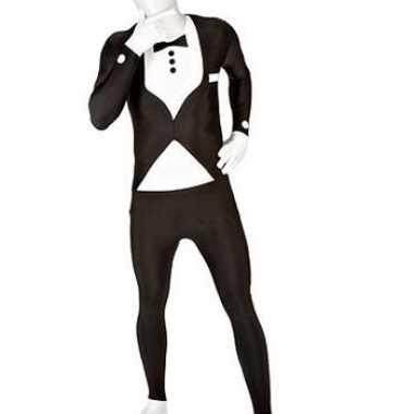 Carnaval  Second skin kostuum smoking zwart