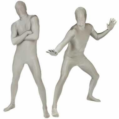 Carnaval  Second skin kostuum volledig zilver