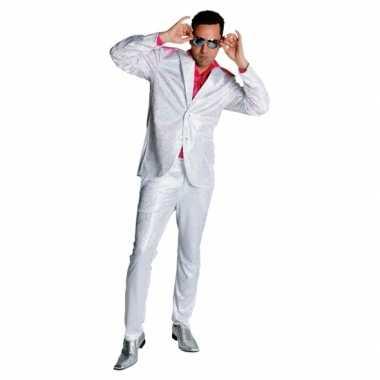 Carnaval  Seventies glitter kostuum wit