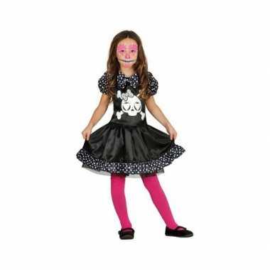 Carnaval skelet kostuum jurkje stippen meisjes