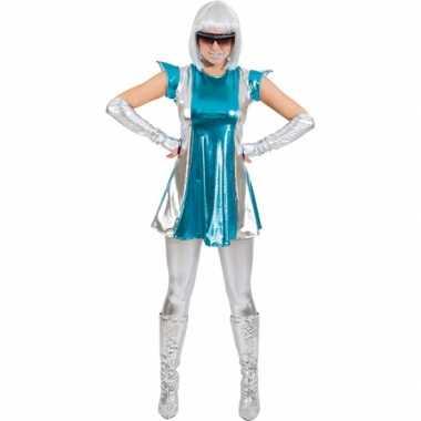 Carnaval space kostuum blauw/zilver dames