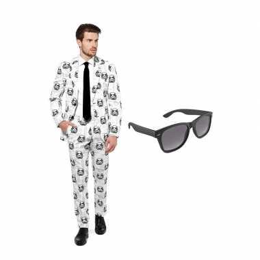 Carnaval stormtrooper heren kostuum maat (l) gratis zonnebril