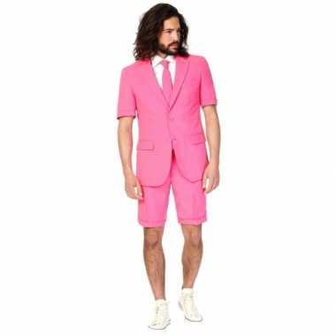 Carnaval  Summersuit roze heren kostuum