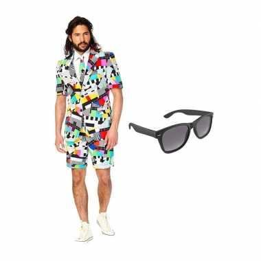 Carnaval testbeeld heren zomer kostuum maat (s) gratis zonnebril