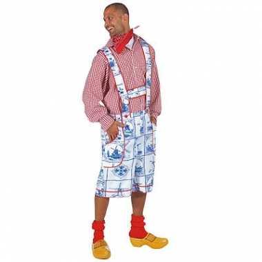 Carnaval tirolerbroek delftsblauwe print kostuum