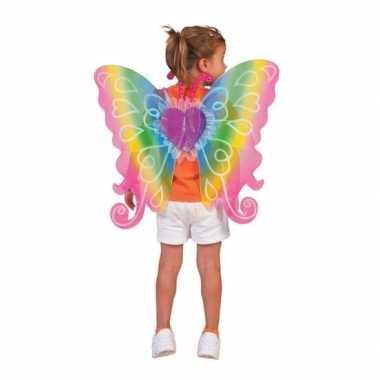Carnaval verkleed vlinder vleugels kinderen regenboog kostuum