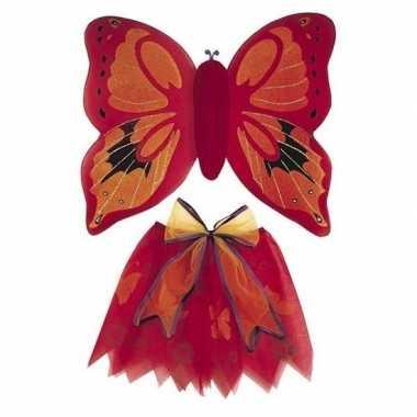 Carnaval vlinder vleugels verkleed kostuum rood kinderen