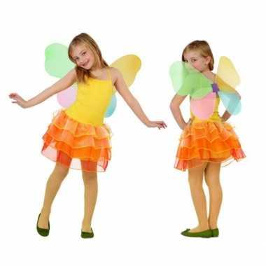 Carnaval  Vlinder kostuum jurk kinderen geel/oranje