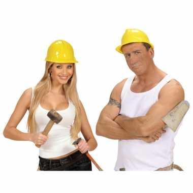 Carnaval werkhelmen geel volwassenen kostuum