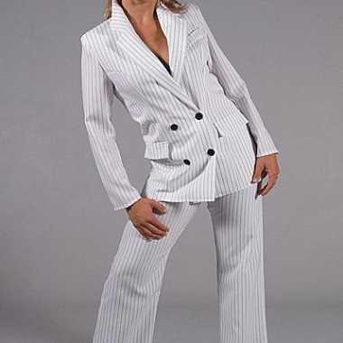 Carnaval wit dames gangster kostuum