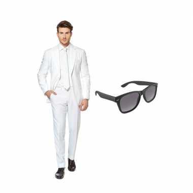 Carnaval wit heren kostuum maat (m) gratis zonnebril