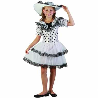 Carnaval  Wit zwart gestipte kinderjurk kostuum