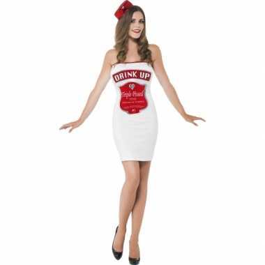 Carnaval  Witte dames kostuum dranklabel
