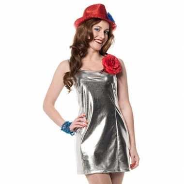 Carnaval  Zilveren disco kostuum jurkje stretch