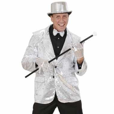 Carnaval  Zilveren glitter blazer kostuum
