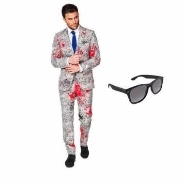 Carnaval zombie heren kostuum maat (l) gratis zonnebril